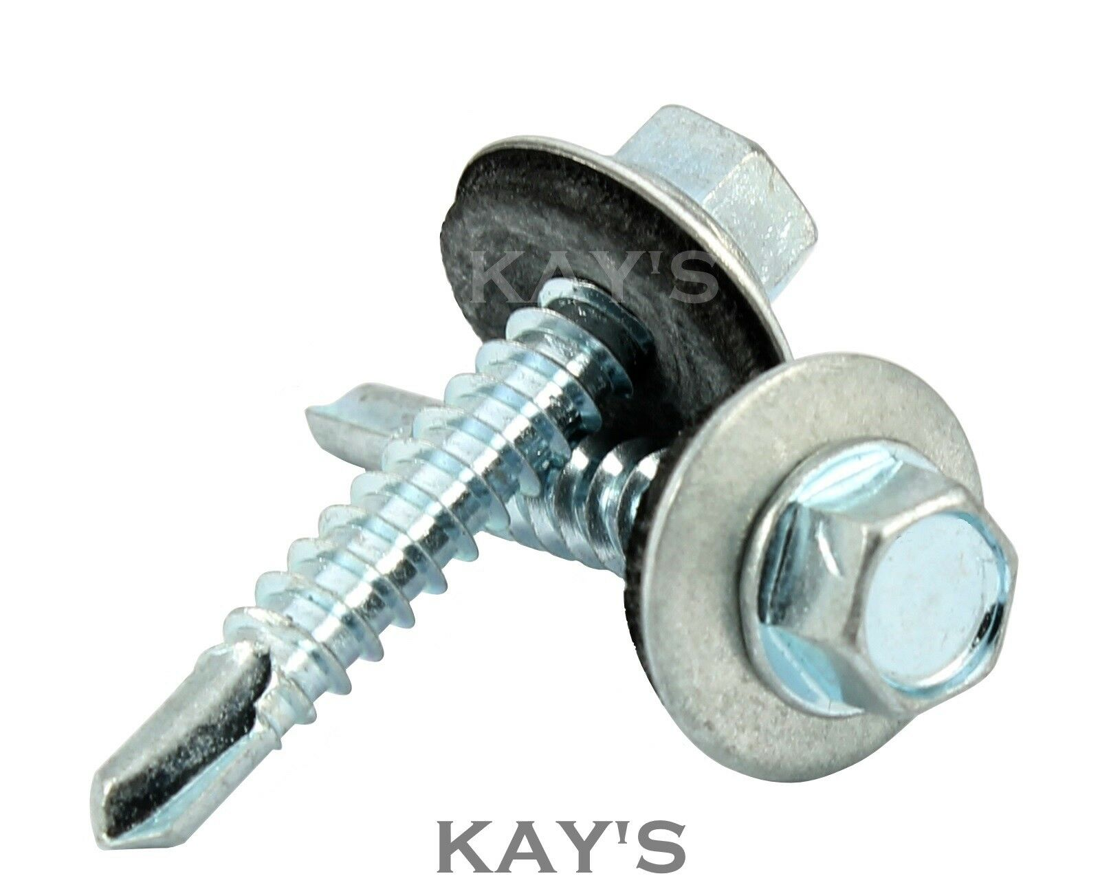 SELF DRILLING ROOFING TEK SCREWS WITH SEALING WASHERS ZINC PLATED FIX TO METAL