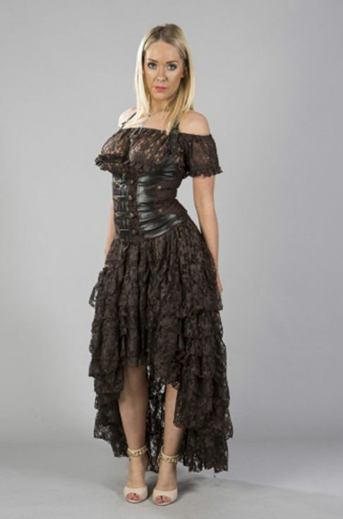 Ladies Burlesque Steampunk Victorian Vintage Prom Wedding Party long brown skirt