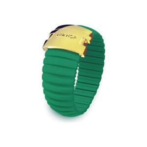 Anello-Donna-HIP-HOP-ICON-HJ0093-Silicone-Verde-Smeraldo-Acciaio-Gold-Misura-L