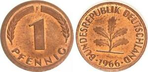 Frg 1 Pfennig 1966 F Lack Coinage:o Hne Ring Embossed, Larger Diameter (2)