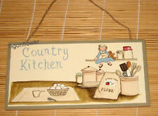 Wood Sign Plaque Decor Primitive Country Kitchen Egg Flour