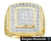 Mens Diamond .50 Carat 10k Yellow Gold Ring Ice Out Bling Hip Hop Man Success