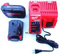 (2) Genuine M18 Milwaukee 48-11-1815 Compact Batteries, (1) Charger 18 Volt