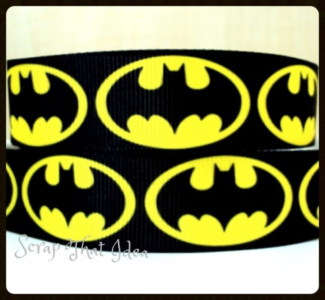 "Batman RIBBON. 5/8"" Printed Grosgrain. Scrapbooking/Craft. Superhero. LARGE LOGO"