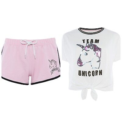 Diplomatisch Primark Ladies Team Unicorn Magical Pyjamas Shorts Crop Tie Teetop Womens Pajama