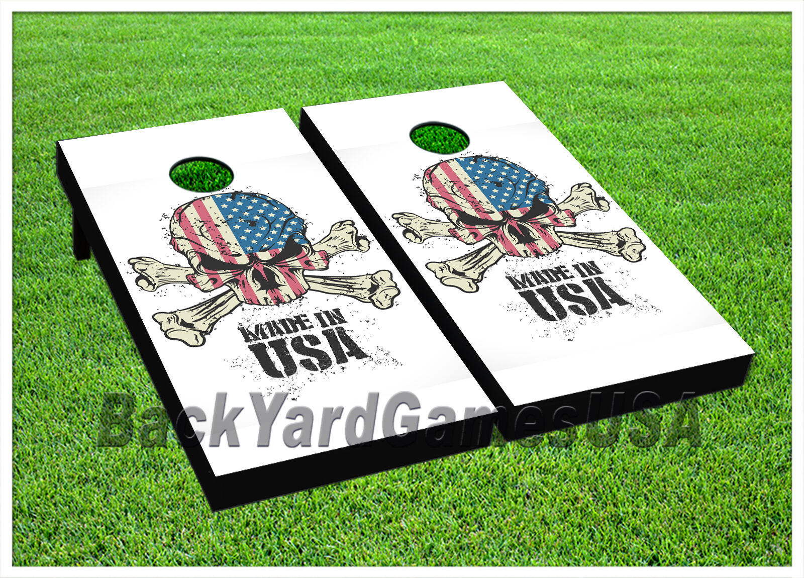 Cornhole Boards BEANBAG TOSSGAME Made in USA Skeleton Red White bluee w Bags Set
