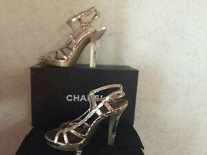 $2,650 CHANEL GOLD ROSE CRACKED LEATHER 15C LIGHT SHOES/SANDALS 38.5/8.5 NWB