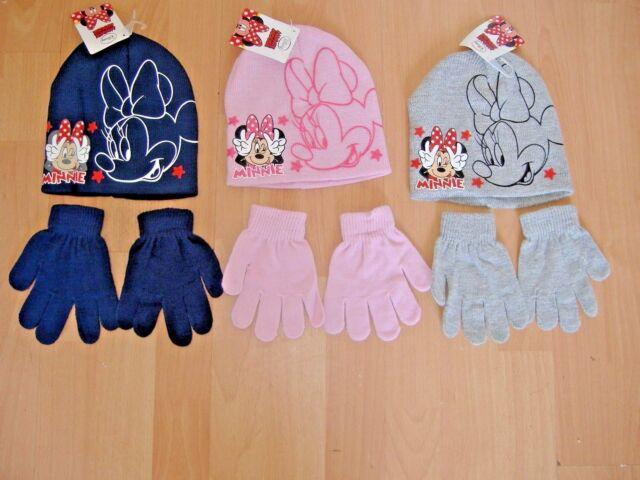 efaf07bd61c Disney Minnie Mouse Kids Girls Hat Pull on Hats   Gloves Grey Black ...
