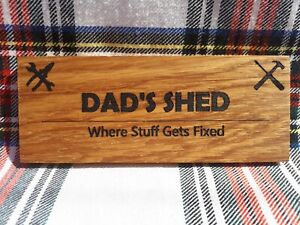 Mini Wooden Door Plaque - Dad's Shed - Father's Day Gift