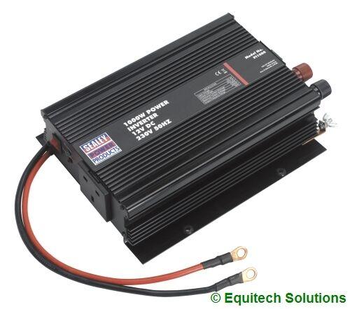 Sealey Tools PI1000 1000W 1KW Power Inverter 12V DC 230V USB Port Car Caravan
