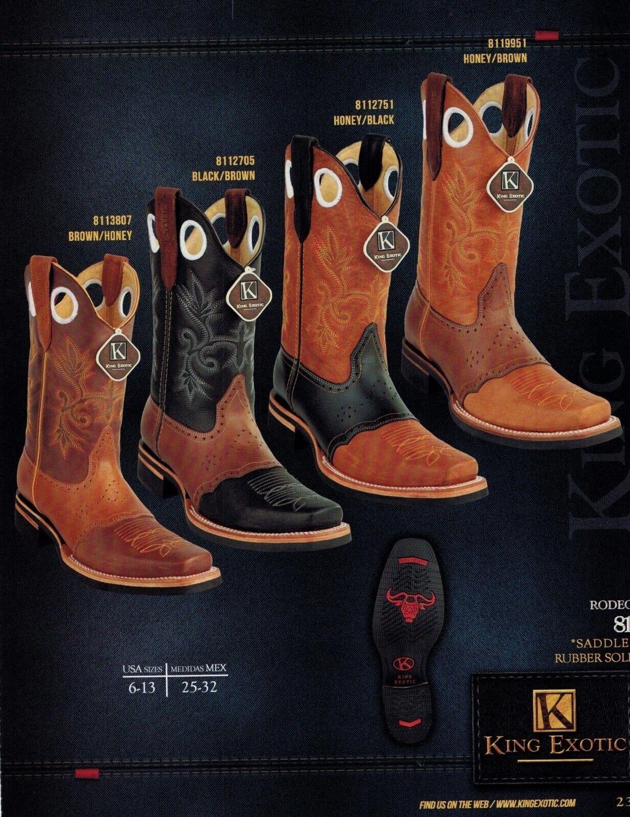 King Exotic Para hombres Cuero Genuino Rodeo del dedo del pie botas de vaquero occidental de silla de montar