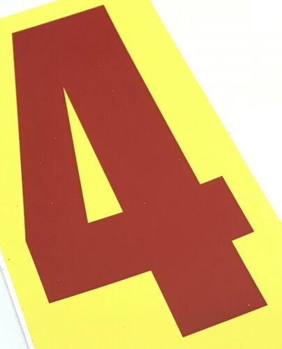 Set of 4 Red Race Number 4 Yellow BackgroundHonda Kart