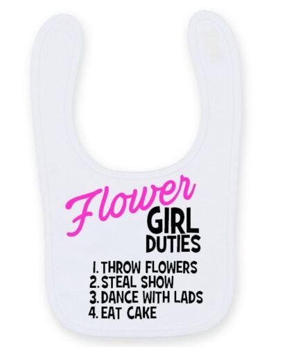Flower Girl Duties Baby Bib Cute Funny Easy Fasten Wedding Baby Bib B053