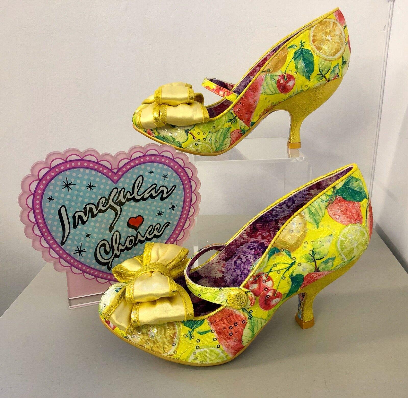 Irregular Choice amor está en en en el aire Amarillo Fruit Tacones Zapatos Lentejuelas Brillante 39 6  preferente