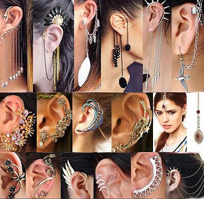 Cool Punk Rock Temptation Metallic Dragon Ear Cuff Wrap Clip Earrings Hair Comb