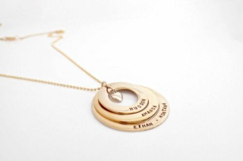 Personalised Hand Stamped Gold Premium Family Stacked Heart Any Names Necklace