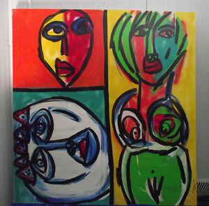 """Keil """"Komposition mit weiblichem Akt und zwei Köpfen"""", großes Ölgemälde, Nr. 48"""