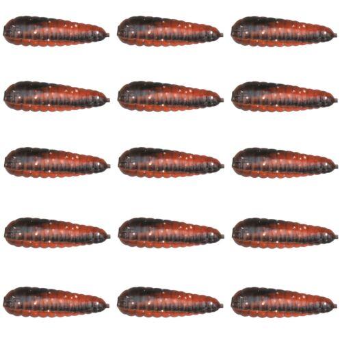 15 Gummi Bienenmaden Forellenköder Trout Master Garlic Bait Mummy 3,5cm