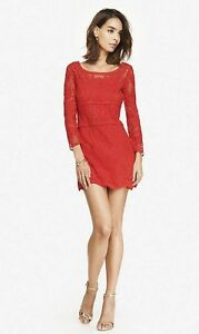 NEW-EXPRESS-RED-EMBROIDERED-LACE-DRESS-SZ-S-SMALL