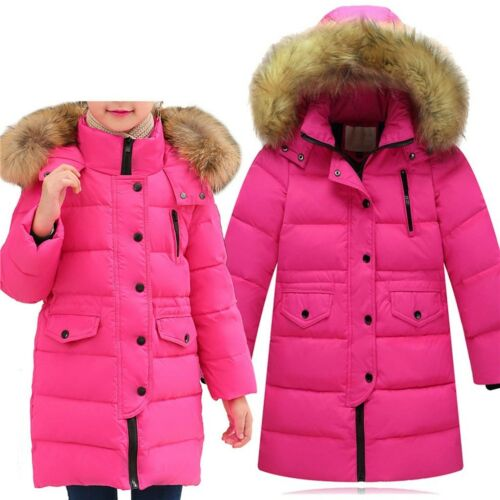 Kids Girls Children Winter Hooded Parka Down Coat Puffer Jacket Padded Overcoat