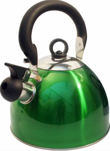 GREEN dark Kettle whistling camping light weight travel small 2.5ltr boat gas