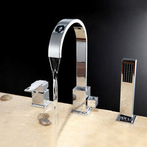 Roman Tub Faucet With Hand Shower 3 Hole.Deck Mounted Three Hole Roman Tub Faucet With Handheld