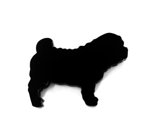 Shar Pei Dog Brooch Badge Pin Scarf Fastener in Black