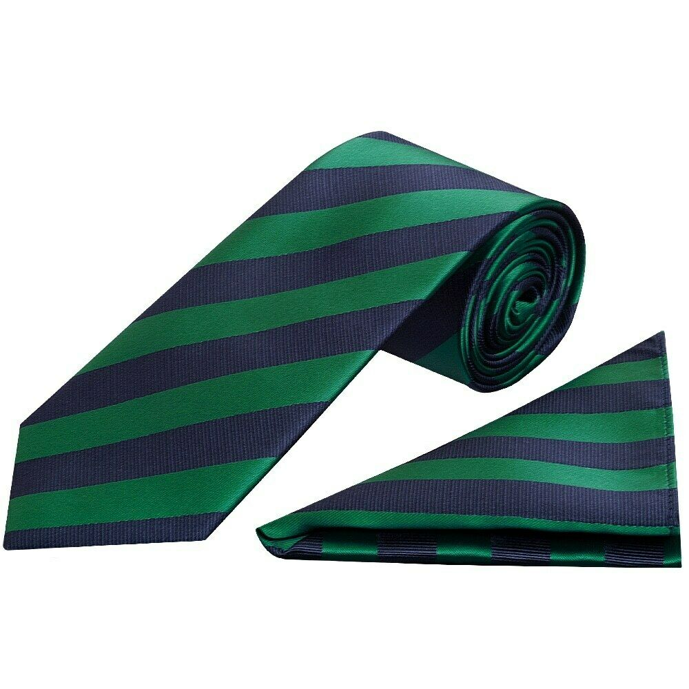 Navy and Green Striped Classic Men's Tie and Pocket Square Set Wedding Tie