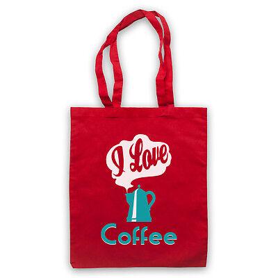 I LOVE COFFEE SLOGAN FUNNY COOL MORNING DRINK CAFFEINE SHOULDER TOTE SHOP BAG