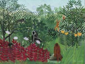 HENRI ROUSSEAU FRENCH TROPICAL FOREST MONKEYS OLD ART PAINTING POSTER BB5635B