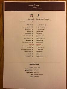 02//04//2016 Colour Teamsheet Bobfrankandelvis t Liverpool v Tottenham Hotspur