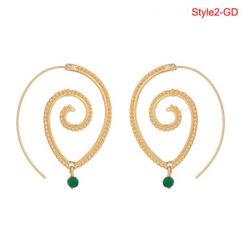 1 Pair Women Circles Round Spiral Tribal Hoop Earrings Ear Stud Piercing Jewelry