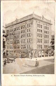 Vtg 1907 Masonic Temple Building, McKeesport Pennsylvania PA Postcard