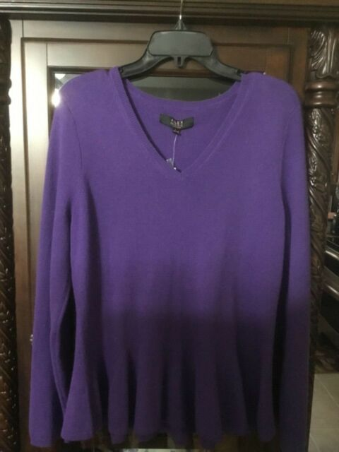 Alex Marie Women's Purple 100% Cashmere Sweater size Large V neck Peplum NWT NEW