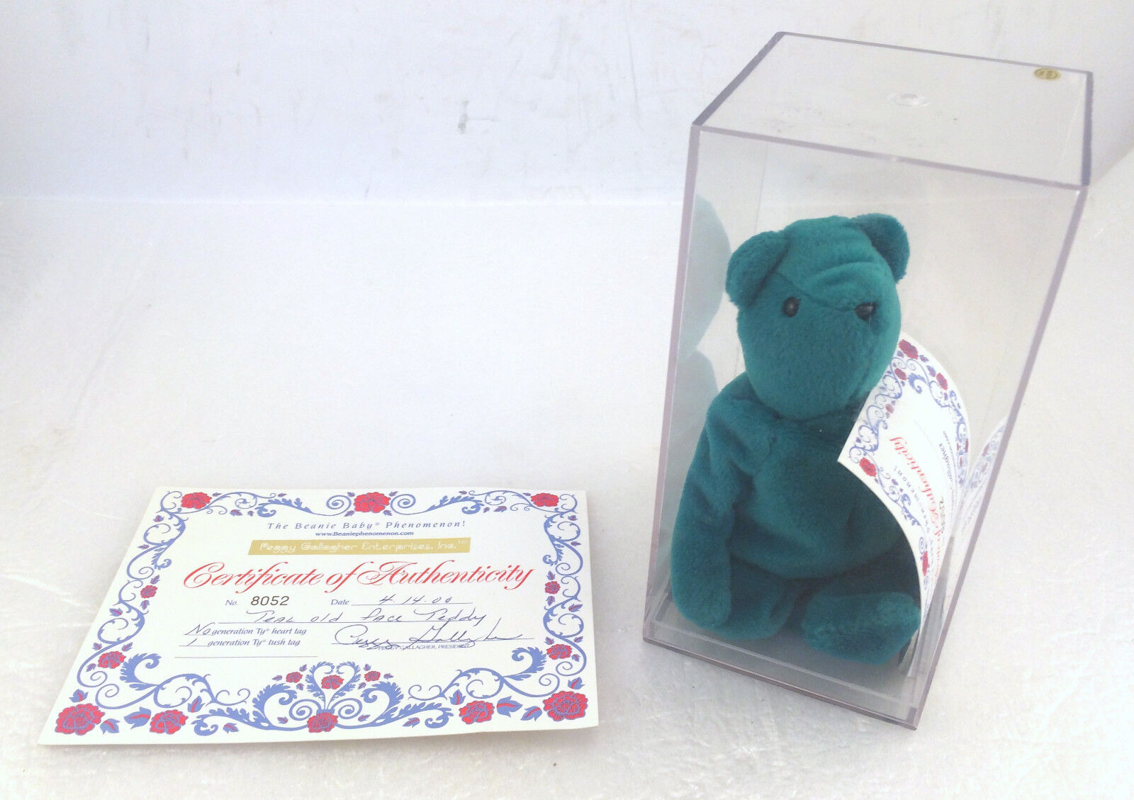 TY Beannie Baby Teal Old Face Teddy with Peggy Gallagher No. 8052 COA