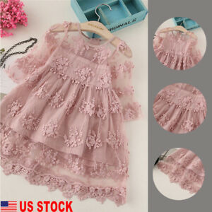 US-Toddler-Kids-Baby-Girls-Cute-Long-Sleeve-Dress-Princess-Party-Lace-Tutu-Dress