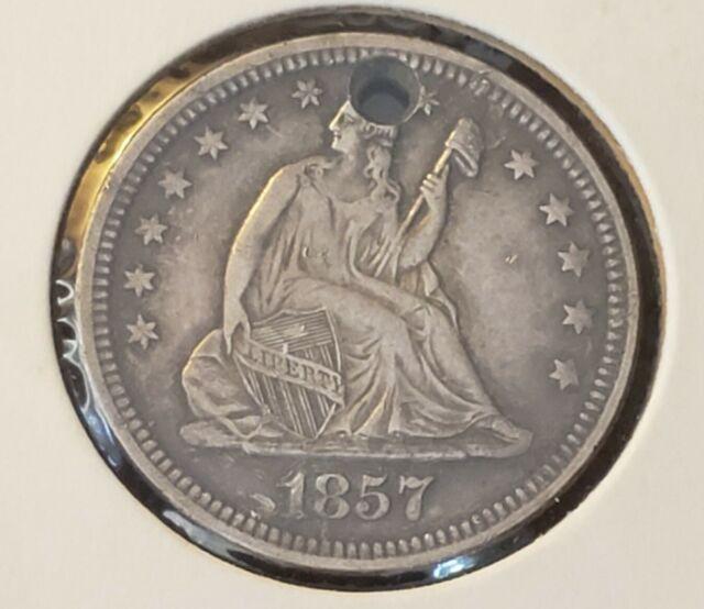 1857 Seated Liberty Quarter Dollar, 25c US COINS