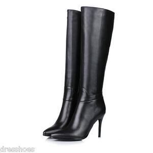 Women-039-s-High-Heel-Shoes-Stilettos-Zip-Black-Leather-Pointed-Knee-High-Boots-O629
