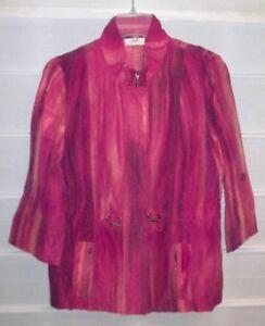 Chico-039-s-Orange-Red-Yellow-Linen-LS-Zip-Front-Jacket-Size-1-NWOTS