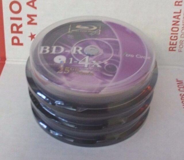 30 Blu-ray DVD 25 GB BD-R 4x Speed Inkjet Printable 3D Bluray Discs