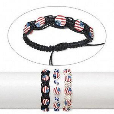 Wholesale Lot* 6 Bracelets Patriotic Jewelry American USA Flag Bracelet Set
