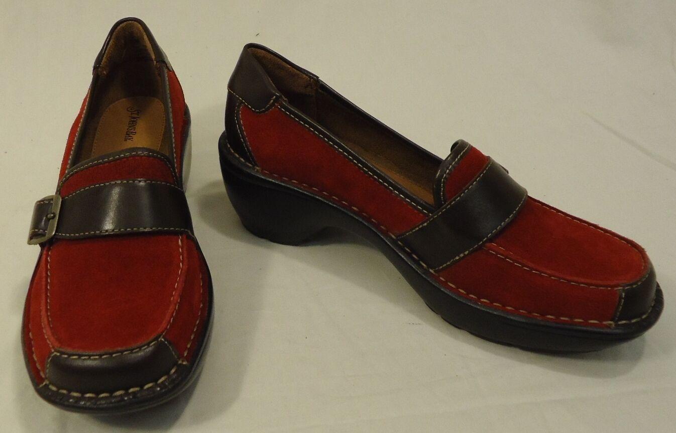 St. Johns Bay Mocassins Mules en cuir femme adulte 7.5 m rouge marron Solide Daim 112 -