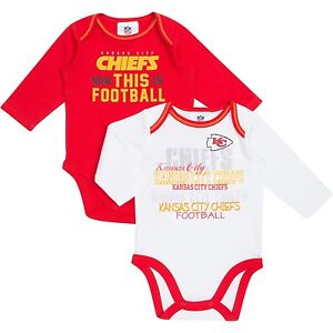 60be3998 Details about Kansas City Chiefs NFL Infant/Baby Boys/Girls 2pk  Creeper/Onesie/Bodysuit: 0-3m