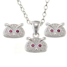 Sterling Silver Owl Pendant Necklace and Earrings Set with Gift Box