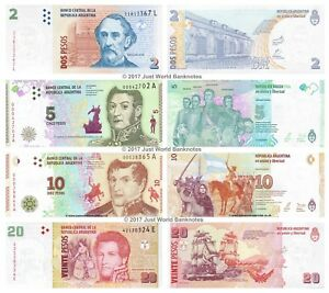 Argentina 2 + 5 + 10 + 20 Pesos 2013-2017 Set of 4 Banknotes 4 PCS UNC