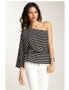 a698ef3603ad0d DREW Womens FIFI One Shoulder Stripe Silk Top with Bell Sleeve ...