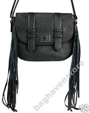 NEW Black Faux Leather Cross Body Fringe Handbag Primark Satchel Bag Atmosphere