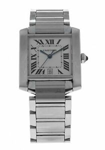 Cartier-Tank-Francaise-Stainless-Steel-Automatic-Men-039-s-Watch-2302
