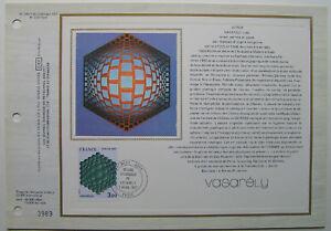 VICTOR-VASARELY-Feuillet-CEF-Timbre-1er-jour-SOIE-1977