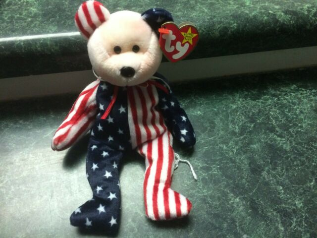 88e45df8794 Spangle Ty Beanie Baby Pink Face Patriortic America Bear MWMT DOB July 14  1999